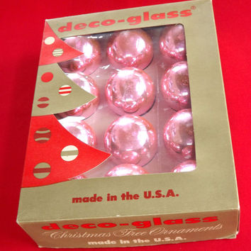 Pink Ornaments, Set of 12 Glass Christmas Tree Balls, Vintage Shabby Chic Holiday Decorating