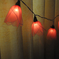 20 Pink Strawberry Tulip flower string light patio hanging wedding living room bedroom party rustic country home garland