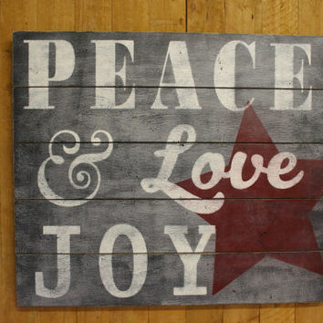 Christmas Rustic Wall Decor Vintage Christmas Peace Love Joy Pallet Sign Handpainted Handmade Christmas Wall Decor Country Christmas