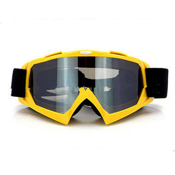 Adult Colourful double Lens Snow Ski Snowboard Goggles Motocross Anti-Fog Fashion Eye Protection Yellow Silver