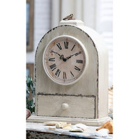 Cream Wood Table Clock?::?Table Clocks?::?Clocks?::?Home Accessories?::?Elizabeth's Embellishments