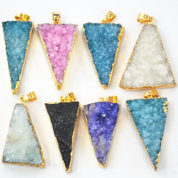 Hot!2017 New Arrival Pendant Natural Onyx Gold Drusy Triangle Arrowhead Shape Pendants For Women Or Girl Making Necklace 4PCS