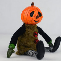 ooak halloween art doll PETRONELA jack o lantern  artist doll cute handmade black collectible toy posable doll Lina's Four O'Clock Friends