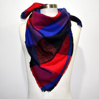 Box Checked Unisex Neckerchief Scarf (Red/Blue)