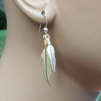 Sterling Silver, Gold vermeil feather Drop Earrings - vintage style-Bridesmaids,bestfriend,Wife,Girlfriend Gift