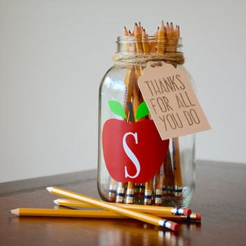 Teacher Appreciation Gift, Teacher Mason Jar, Apple Mason Jar, Apple Teacher Gift, Monogram Teacher Gift, Monogram Mason Jar, Teacher Thanks