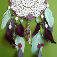 Dream Catcher - Doily - Purple and Blue - Modern
