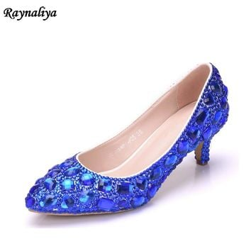 Women Handmade Female Noble Diamond Wedding Shoes Sexy Blue White 5CM High Heels Pointed Toe Dress Shoes 5CM XY-A0008