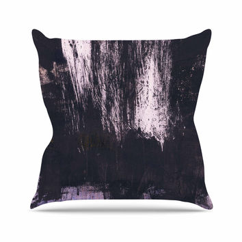 "Iris Lehnhardt ""Brushstrokes 1"" Gray Abstract Outdoor Throw Pillow"