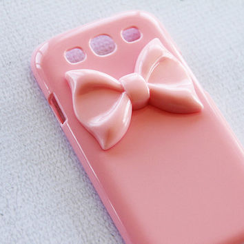 Cute Samsung S3 Case Galaxy S3 Girly Case Ribbon S3 Case Rubber Galaxy S3 Case Plastic Hard Case Samsung S3 Pink Bow Phone Cases Stylish