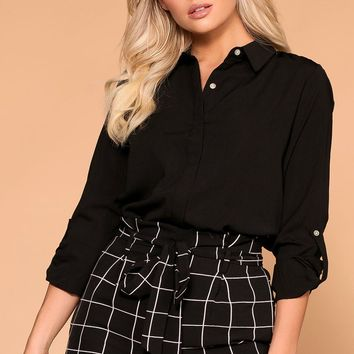 Busy Bee Black Button Down Top