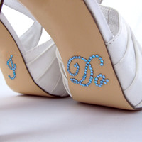 Light Blue Rhinestone I Do Shoe Stickers