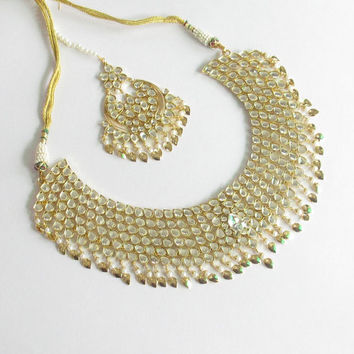 Jadau Gold Kundan Pipal Patti Necklace Jewelry Set/Gold Earrings Tikka/Punjabi Indian Bridal Wedding Muslim Pakistan Choker/Ethnic Rani Haar