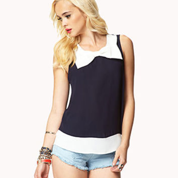 Colorblocked Bow Top | FOREVER 21 - 2048619493