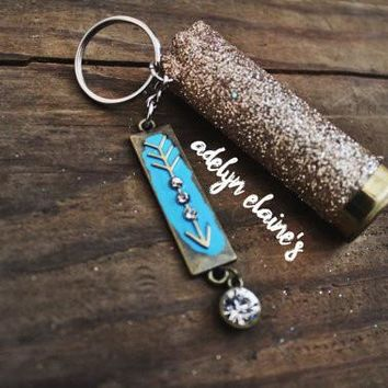 Gold Glitter Bullet and Arrow Keychain