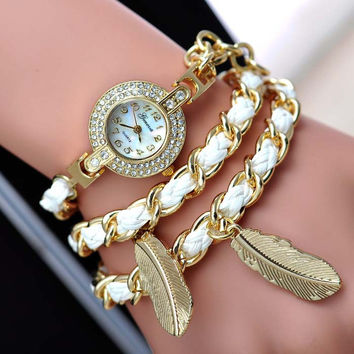 Hot Sale Korean Stylish Vintage Bracelet Watch Leaf Ladies Diamonds Watch Quartz Watch [8863741959]
