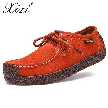 XIZI New Fashion Woman Casual leather Shoes Wild Lace-up Women Flats Warm Comfortable Concise Woman Shoes Breathable Female Shoe