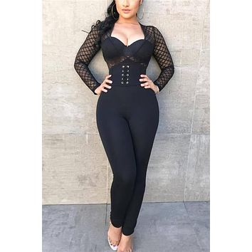 Black Hollow Out Mesh See Through Bodycon Jumpsuits