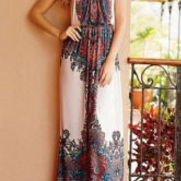 Floral Printed Strappy Maxi Dress