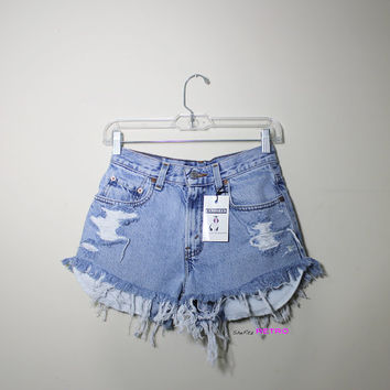 ALL SIZES Studded Peek A Boo High Waisted Distressed Shorts