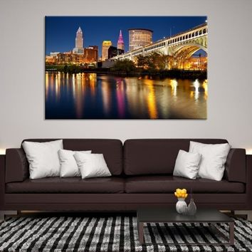 13961 - Reflections of Lights on Water in Cleveland, Large Cleveland Wall Art Canvas Print, Cleveland Ohio Wall Art, Cleveland City Skyline Canvas, Skyline Wall Art, Home Decor