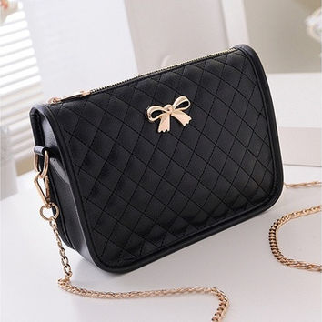 New Fashion Women Synthetic Leather Casual Bow Shoulder Bag Cross Bag Handbag B_W [8072732743]