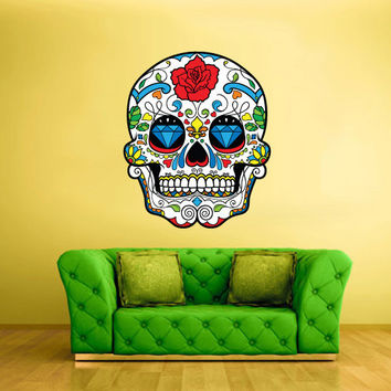Full Color Wall Decal Mural Sticker Decor Art Beautyfull Cute Sugar Skull Bedroom Curly modern fashion (col300)