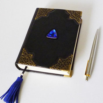 Wizard Book, Black Leather Journal, Magic Spells, Gothic Diary, Sorcerers Stone, Witch Notebook, Travel Art Journal, Birthday Gift Idea