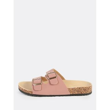 Double Buckle Nubuck Sandals DARK MAUVE
