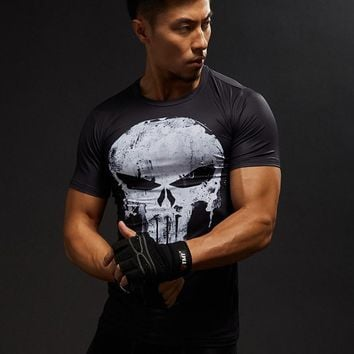 Compression Shirts Men 3D Printed T-shirts Short Sleeve Cosplay Fitness Body Building