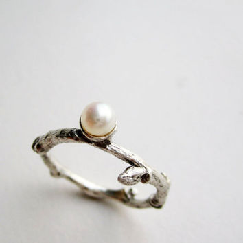 Pearl, Twig Silver Ring with White Pearl, MADE TO ORDER