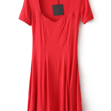 Red Square Neck Shift Dress