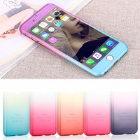 360 degree Case Full Body Protection Gradient Back Cover for iphone 5 6 6s 7 Plus Hard Armor Cases + Screen Glass