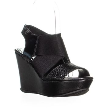 Kenneth Cole REACTION Sole-Less 2 Cutout Wedge Sandals, Black, 5 US / 35 EU