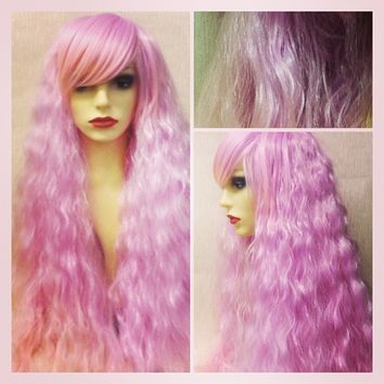 Seashell, Lilac Pink Dip Dye Crimped Gothic Lolita Cosplay Wig