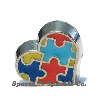 Autism Awareness Heart Charm for Floating Keepsake Living Lockets