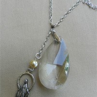 Miraculous Virgin Chandelier Glass Crystal Pendant Necklace