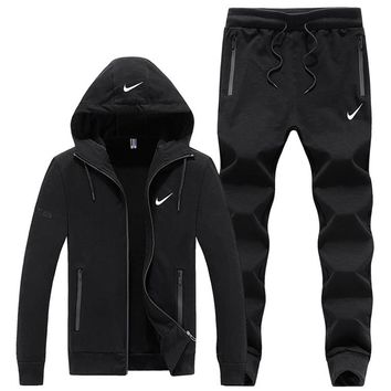 NIKE autumn and winter models plus velvet sweater men's casual sports running clothes two-piece black