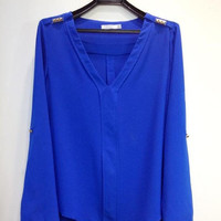 Elegant V-Neck Chiffon Rivets Decorated Shoulder Long Sleeves Blouse Top 3 Colors