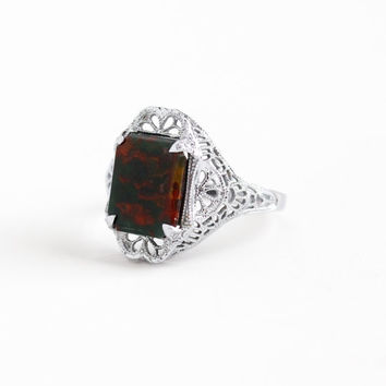 Vintage Art Deco 10k White Gold Bloodstone Ring - 1920s Size 6 1/2 Flower Filigree Green & Red Chalcedony Gemstone Fine Statment Jewelry