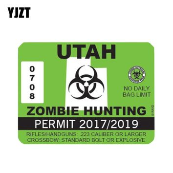 YJZT 15x11.1cm Fashion Utah ZOMBIE Hunting Permit Retro-reflective Car Stickers Decals Car-styling C1-8108