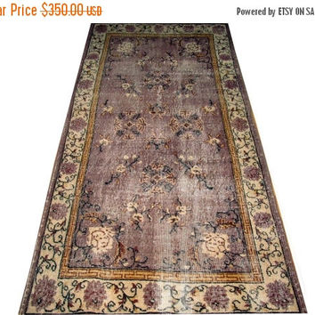 ON SALE Purple Color Turkish Vintage Rug With Chinese design 7'0'' x 3'10''  Free Shipping