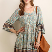 Border Print Baby Doll Dress - Light Taupe