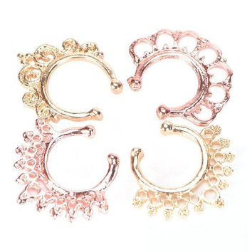 ac DCCKO2Q 12Pcs/Pack Fake Nose Ring No Piercing clicker faux clip non pierced Small Hoop ring Crystal septum Women Body Jewelry