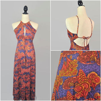 Vintage Psychedelic Maxi Dress Tie Up Open Back Small 60s 70s Empire Waist Purple Orange Yellow Festival Boho Hippie Keyhole High Neck Tank