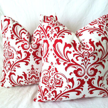 Christmas Pillow Covers - One, 16 x 16, Red Damask Pillow, Elegant Pillow, Red White Christmas Pillow, Holiday Pillows, Christmas Decor
