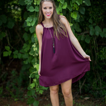 Sideline Sweetheart Dress in Maroon