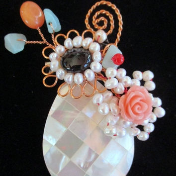 CLEARANCE SALE Vintage pin brooch jewelry, mother of pearl,  small pearls and crystals wired to pin, unique gift under 25, woman wife mothe