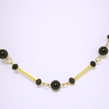 NECKLACE JEWELRY Long Black Round And Facet Bead Necklace Gold Chain And Tubes Beautiful Long Black And Gold  Necklace Gift Idea For Her
