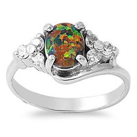 Sterling Silver Oval 10MM Black Lab Opal Ring
